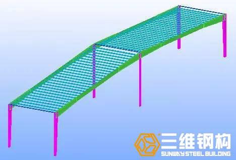 安装两榀屋架之间的檩条,形成稳定的框架体系