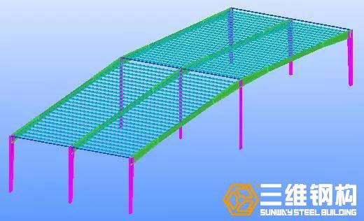 继续安装下一榀刚架的钢柱、连梁、屋架、檩条。